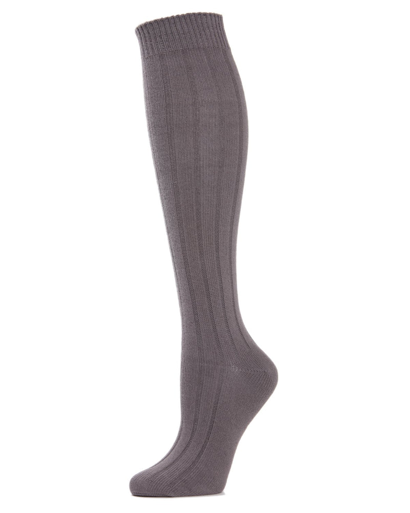 MeMoi Ribbed Knee High Socks | Women's Knee High Fall / Winter Socks -MO-716 Pavement-