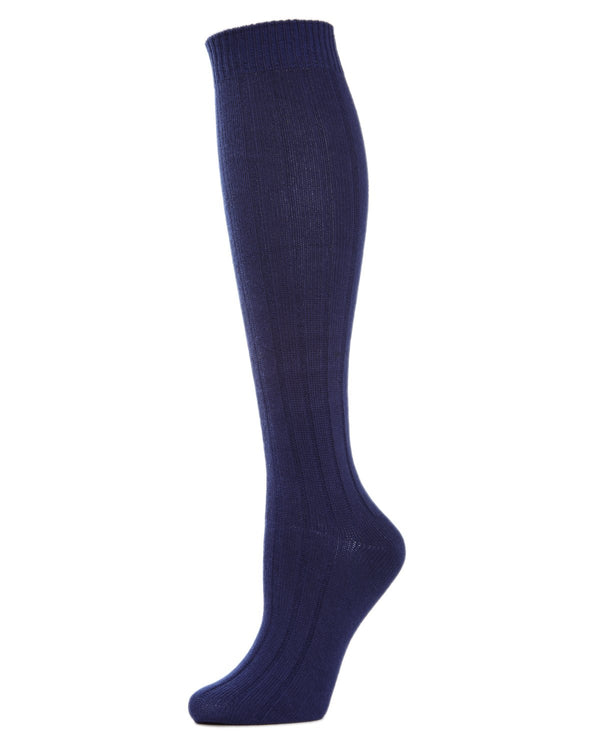 MeMoi Ribbed Knee High Socks | Women's Knee High Fall / Winter Socks -MO-716 Peacoat-