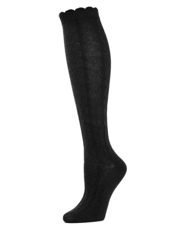 MeMoi Cable-Knit Knee High Socks | Women Knee High Fall / Winter Socks -MO-718 Black-