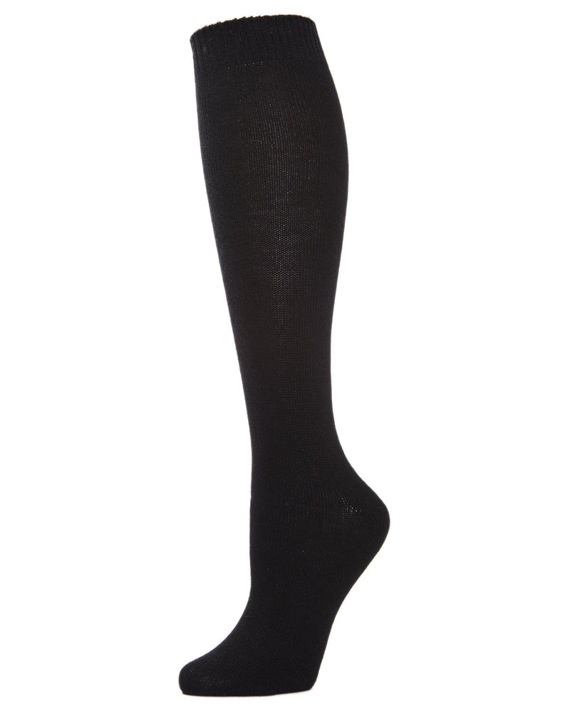 MeMoi Solid Knit Knee High Socks | Women Knee High Fall / Winter Socks -MO-720 Black-