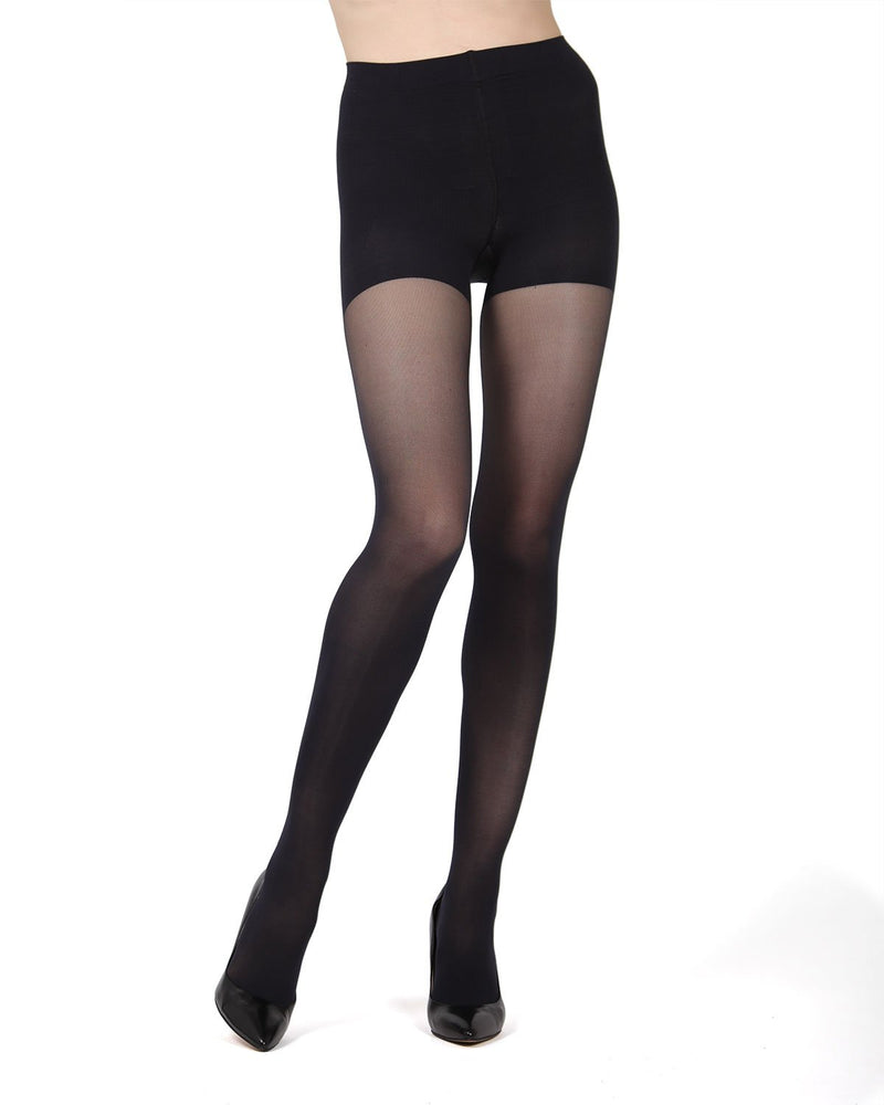 MeMoi FirmFit Control Top Tights | Women's Best Control Top Shaping Tights | Hosiery - Pantyhose - Nylons (Front)  |  Black MO-840