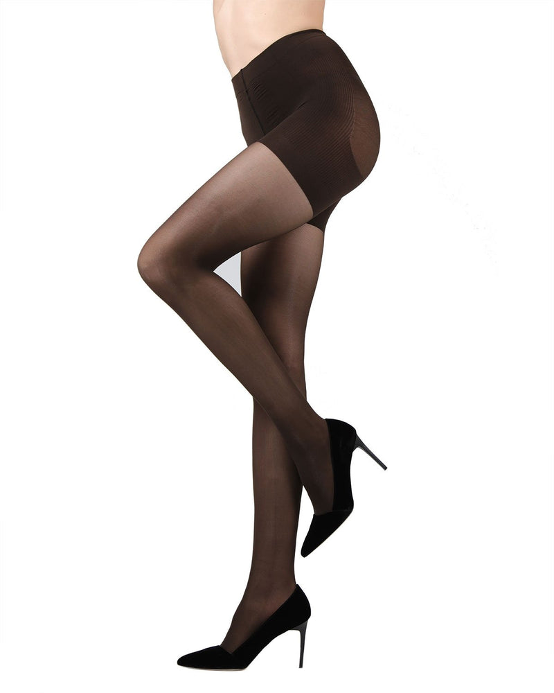 MeMoi FirmFit Control Top Tights | Women's Best Control Top Shaping Tights | Hosiery - Pantyhose - Nylons (Side)  |  Black MO-840