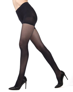 MeMoi FirmFit Control Top Tights | Women's Best Control Top Shaping Tights | Hosiery - Pantyhose - Nylons  |  Black MO-840