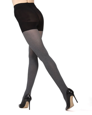 MeMoi Black (3) FirmFit Heather Control Top Tights | Women's Hosiery - Pantyhose - Nylons