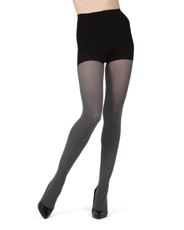 MeMoi FirmFit Heather Control Top Tights | Women's Best Control Top Shaping Tights (front)| Hosiery - Pantyhose - Nylons | Black MO-894