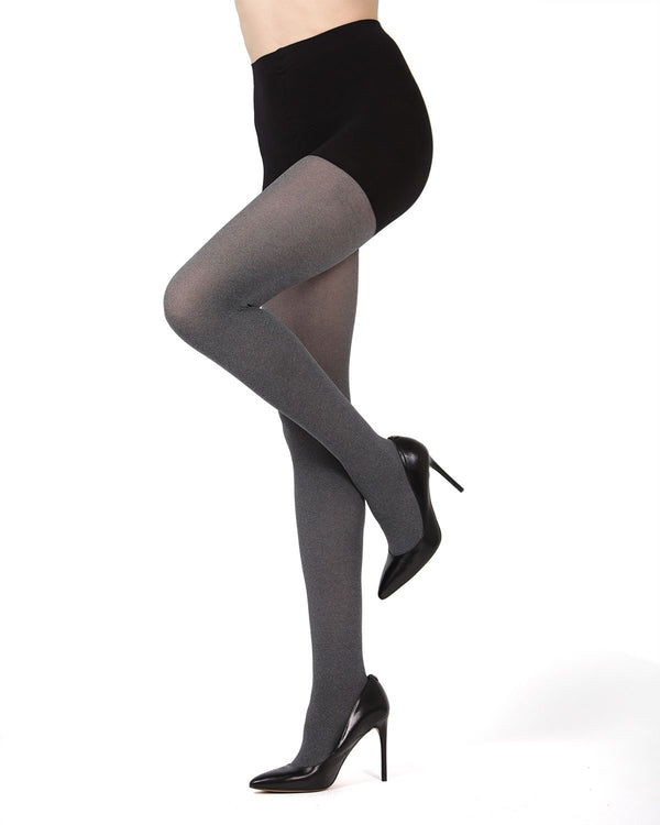 MeMoi FirmFit Heather Control Top Tights | Women's Best Control Top Shaping Tights (side)| Hosiery - Pantyhose - Nylons | Black MO-894