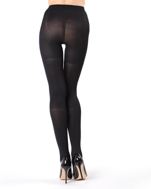 MeMoi Black FirmFit Boot Control Top Tights (rear view) | Women's Tights - Hosiery - Pantyhose