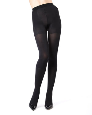 MeMoi Black FirmFit Boot Control Top Tights (front view) | Women's Tights - Hosiery - Pantyhose