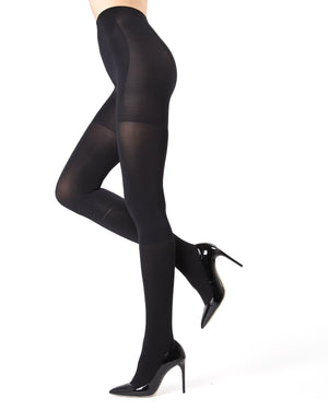MeMoi Black FirmFit Boot Control Top Tights (side view) | Women's Tights - Hosiery - Pantyhose