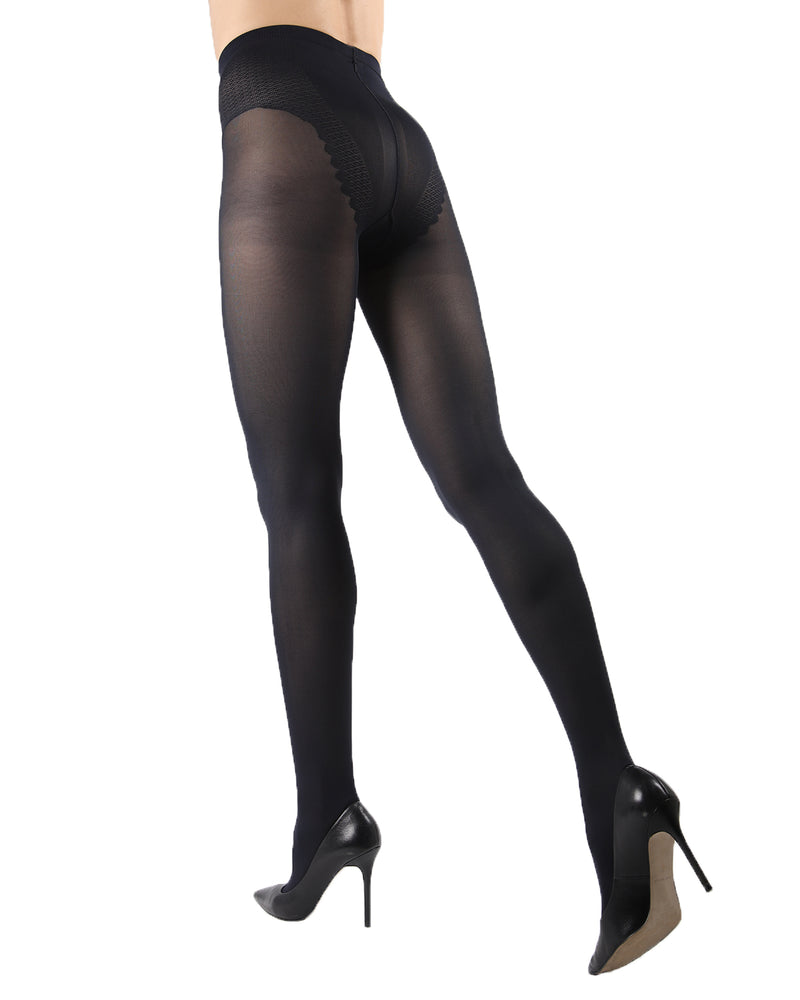Model Top Women's Control Top Opaque Tights | Shaping Tights by Levante | MODEL TOP 70 | Nero 1