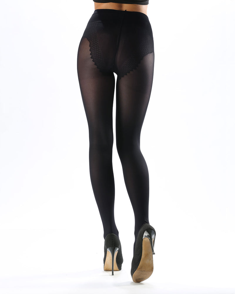 Model Top Women's Control Top Opaque Tights | Shaping Tights by Levante | MODEL TOP 70 | Carbon 1