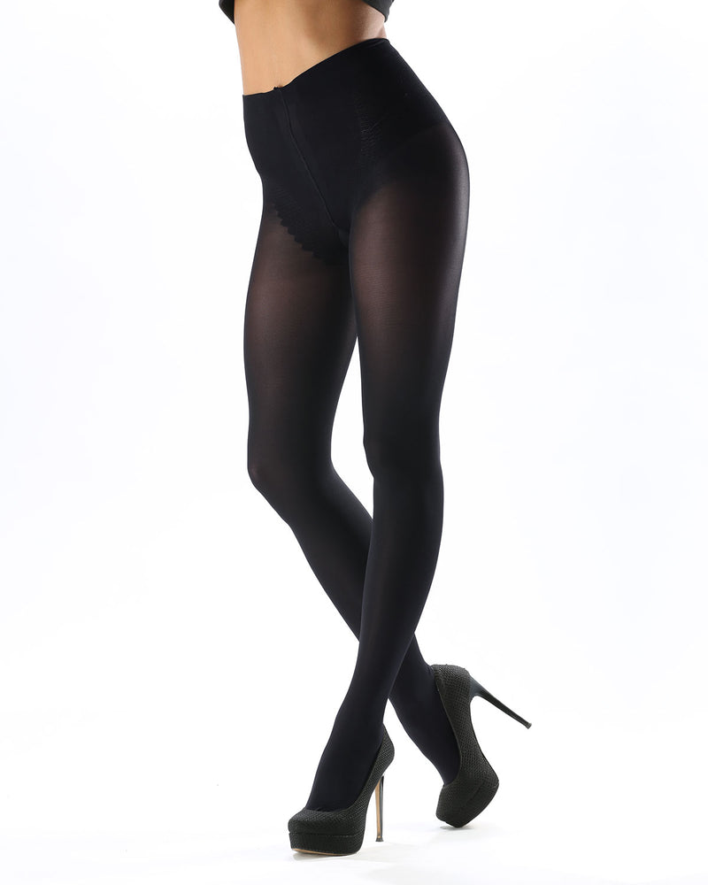 Model Top Women's Control Top Opaque Tights | Shaping Tights by Levante | MODEL TOP 70 | Carbon
