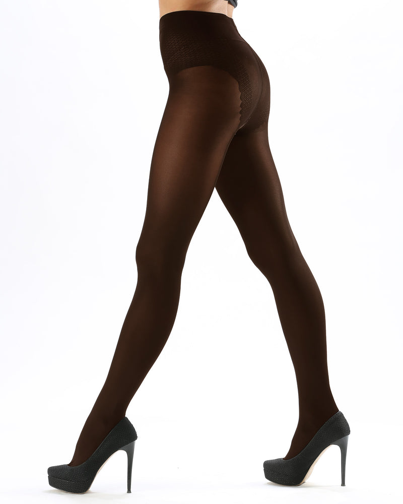 Model Top Women's Control Top Opaque Tights | Shaping Tights by Levante | MODEL TOP 70 | Moka