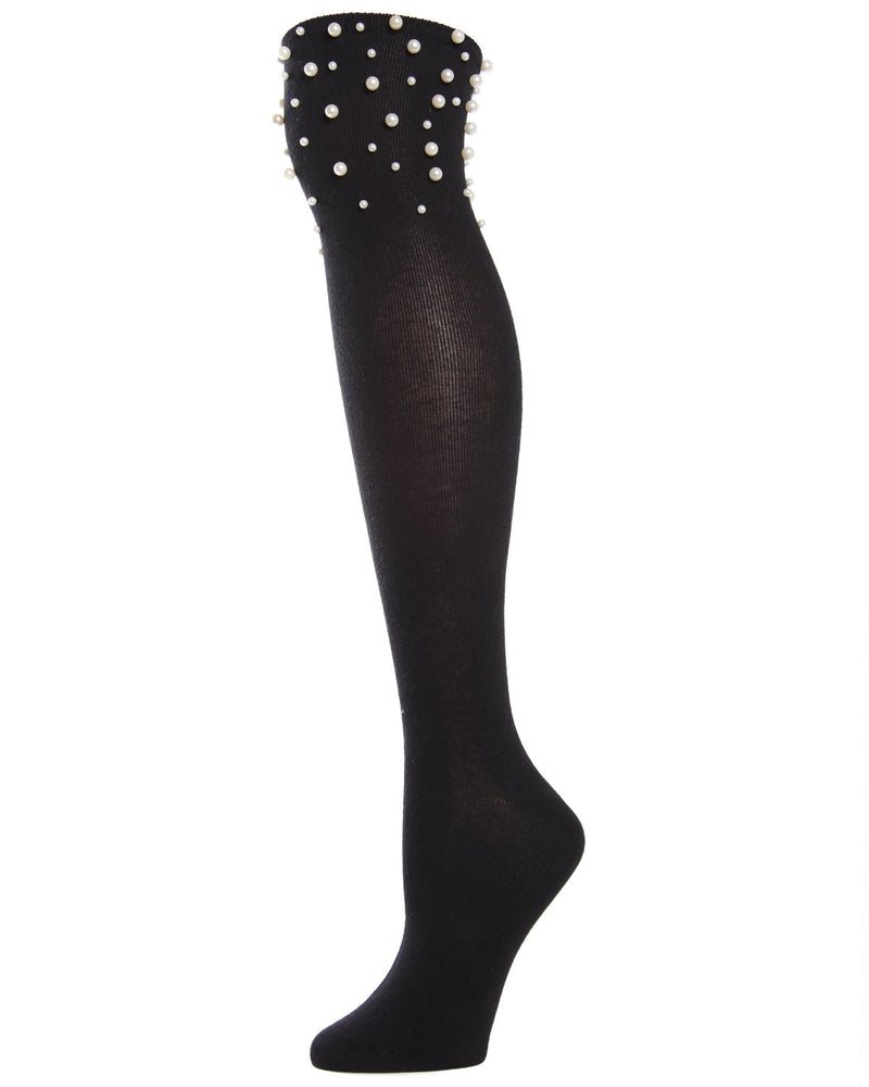 MeMoi Precious Pearl Over The Knee Socks | Top Women's Premium Fashion Over The Knee Socks | calcetines para mujeres | MOF02226