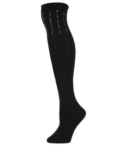 Evening Star Over The Knee Socks | Fall and Winter Over the Knee Socks | Great Gifts under $25 | Stocking Stuffers | Black MOF05350
