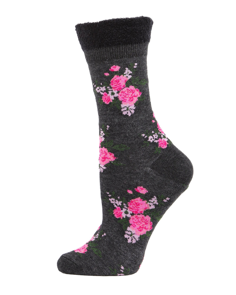 Rosie Chenille Cuff Crew Socks | Sock By MeMoi®  | MCF05520  | Charcoal