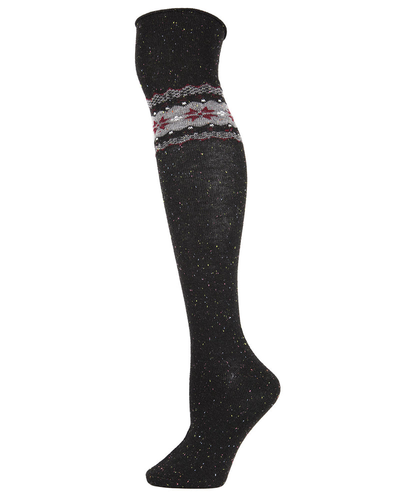 Nordic Sparks Over the Knee Socks | Women's Socks by MeMoi | Fall & Winter Socks | Black MOF05391