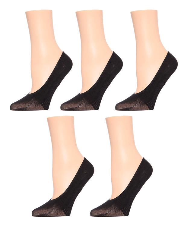 MeMoi Foot Massaging Shoe Liners 5-Pak | Women's no-show Shoe Liner Socks | No-Show Ankle Socks | Black MP-015