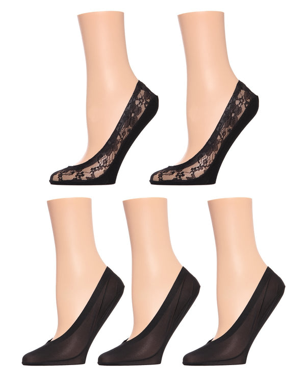 MeMoi Lace/Solid Fine Edge Shoe Liners (5- Pak) | Women's no-show Shoe Liner Socks | 97% Nylon, 3% Spandex | Black MP-043