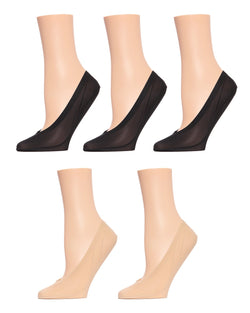 MeMoi Nylon Fine Edge Liners 5 Pair Pack | Women's Foot Liner Socks | MP-046 Black3/Nude2