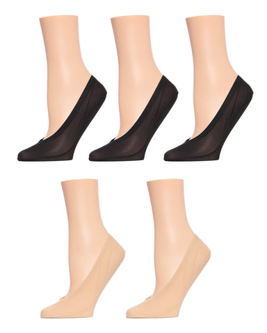 MeMoi Nylon Fine Edge Liners 5 Pair Pack | Women's Foot Liner Socks | MP-046 Black