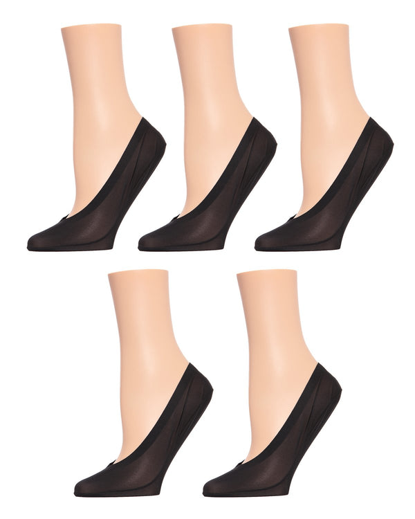 MeMoi Cotton Fine Edge Liner 5Pak | Women's no-show Shoe Liner Socks | No-Show Ankle Socks | Black MP-049