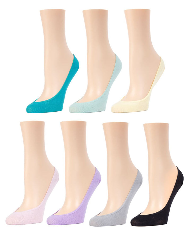MeMoi Micro Shoe Liners 7-Pak | Women's no-show Shoe Liner Socks | 97% Nylon, 3% Spandex | Grayed Jade MP-050