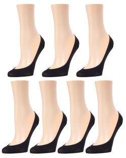 MeMoi Micro Shoe Liners 7-Pak | Women's no-show Shoe Liner Socks | 97% Nylon, 3% Spandex | Black MP-050