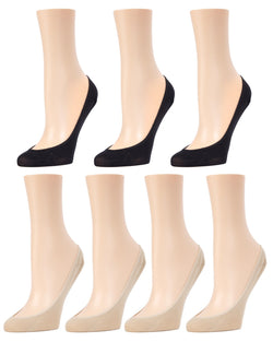MeMoi Micro Shoe Liners 7-Pak | Women's no-show Shoe Liner Socks | 97% Nylon, 3% Spandex | Nude/Black MP-050
