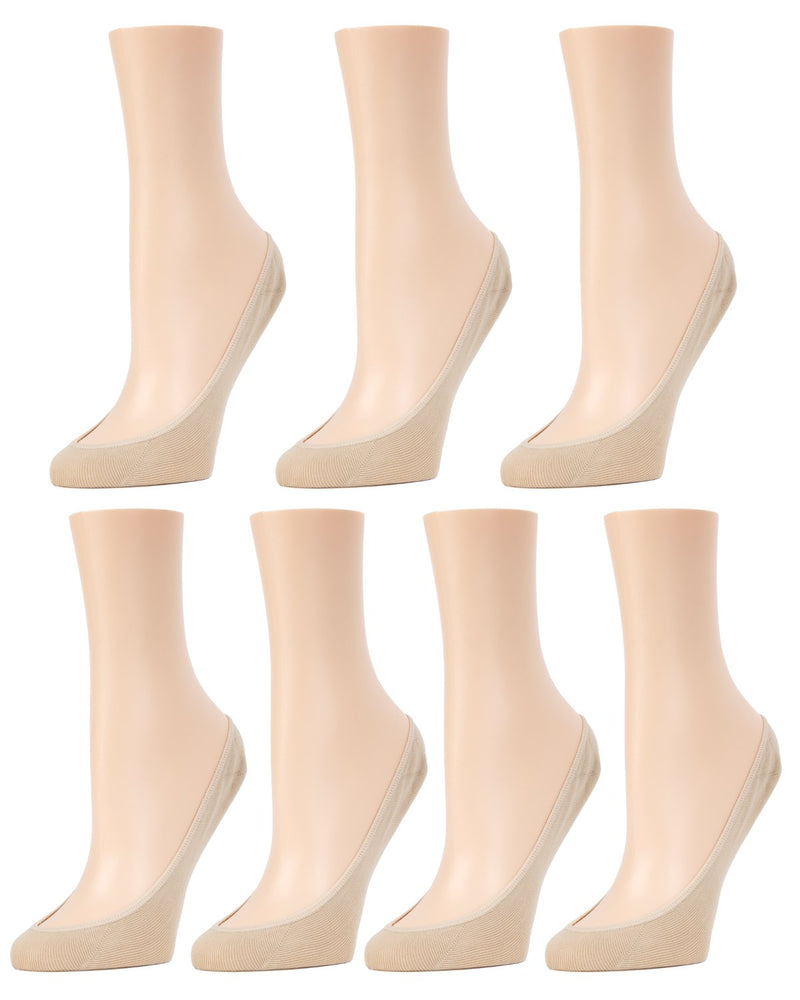 MeMoi Micro Shoe Liners 7-Pak | Women's no-show Shoe Liner Socks | 97% Nylon, 3% Spandex | Nude MP-050