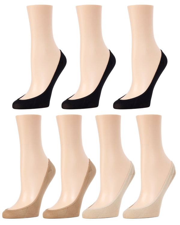 MeMoi Ballerina Micro Liner Socks 7 Pak | Women's no-show Liner Ankle socks | 97% Nylon, 3% Spandex | Black/Tan/Nude MP-053