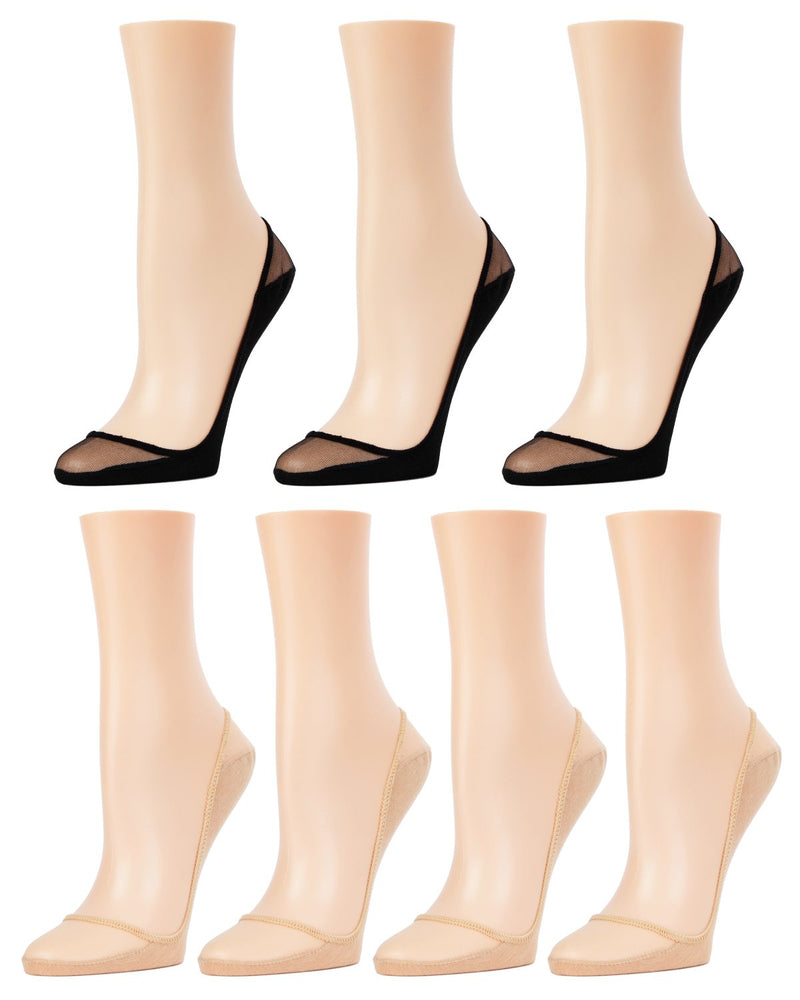 MeMoi Sheer Top Cotton Sole Shoe Liners 7-Pak | Women's no-show Liner socks | 70% Polyester, 30% Cotton | Black/Nude MP-054