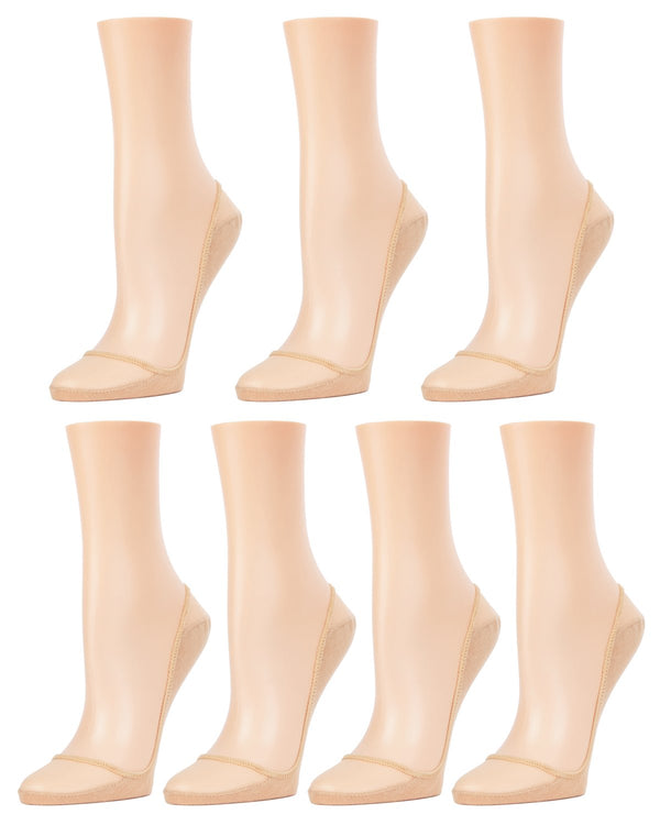 MeMoi Sheer Top Cotton Sole Shoe Liners 7-Pak | Women's no-show Liner socks | 70% Polyester, 30% Cotton | Nude MP-054