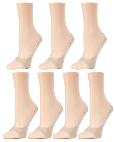 MeMoi Micro Liner Open Toe Shoe Liner 7 Pak | Women's no-show Liner socks | 97% Nylon, 3% Spandex | Nude MP-055
