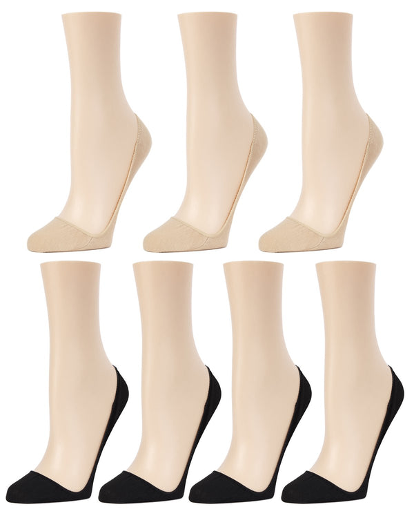MeMoi Closed Toe Stiletto Liner 7-Pak | Women's no-show Shoe Liner Socks | No-Show Stiletto Liners | Black/Nude MP-056