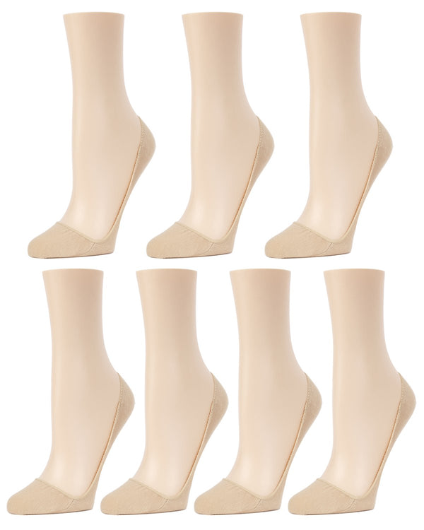 MeMoi Closed Toe Stiletto Liner 7-Pak | Women's no-show Shoe Liner Socks | No-Show Stiletto Liners | Nude MP-056