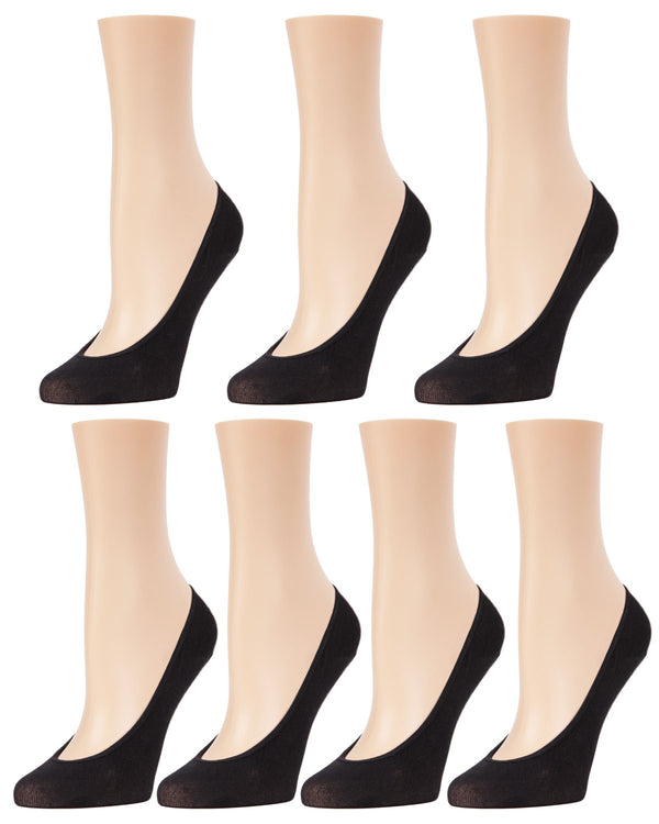 MeMoi Fine Gauge Cotton Seamless Liner 7 Pair Pack | Women's Foot Liner Socks | Black MP-061