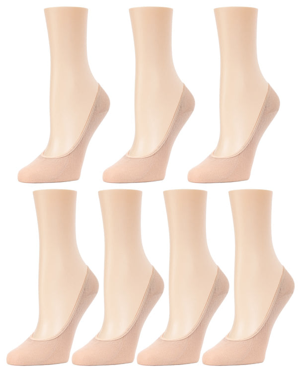 MeMoi Fine Gauge Cotton Seamless Liner 7 Pair Pack | Women's Foot Liner Socks | Nude MP-061