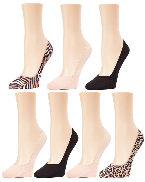 Animal Print/Solid 7 Pair Pack Liner Socks by MeMoi-MP-063 Nude/Black-