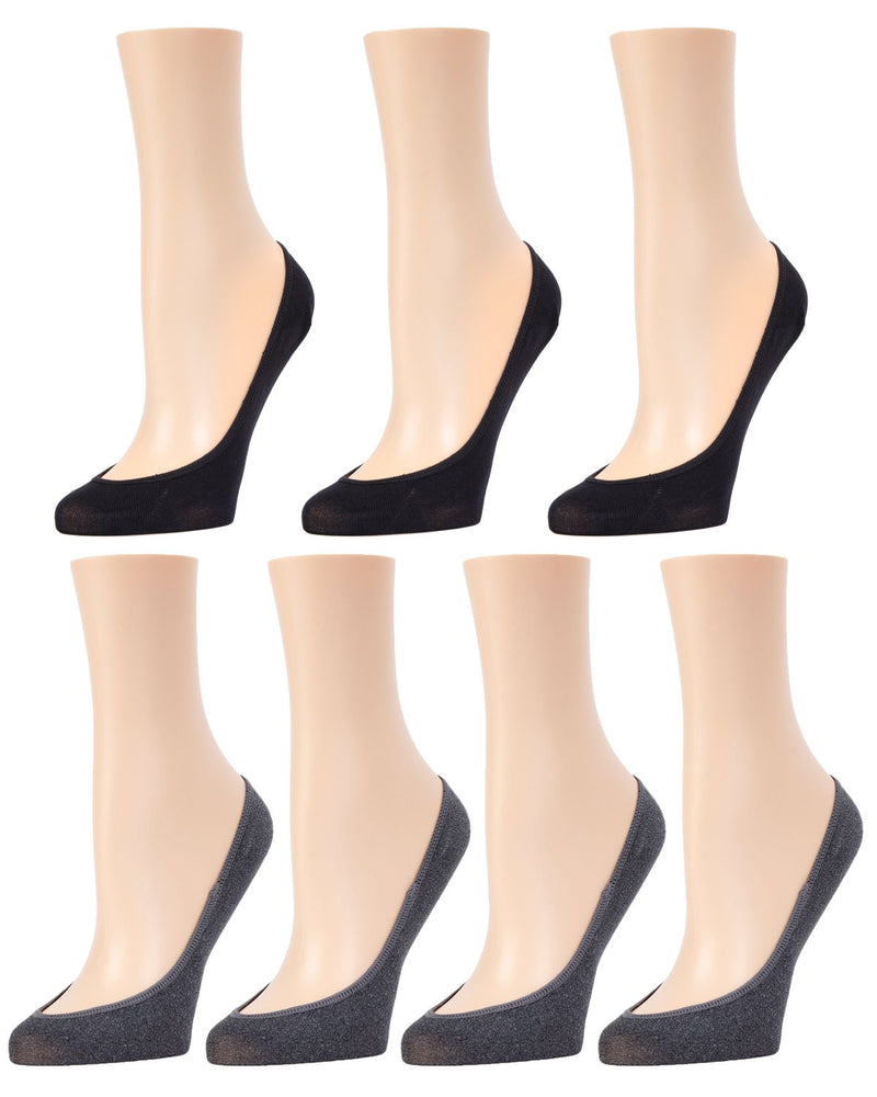 MeMoi Micro Shoe Liners 7-Pak | Women's no-show Shoe Liner Socks | 97% Nylon, 3% Spandex | Black Heather MP-050
