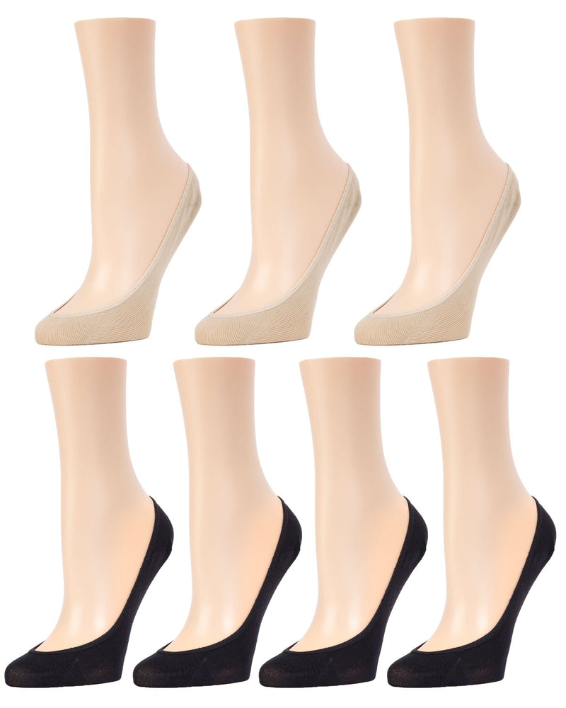 MeMoi Micro Shoe Liners 7-Pak | Women's no-show Shoe Liner Socks | 97% Nylon, 3% Spandex | Black/Nude MP-050