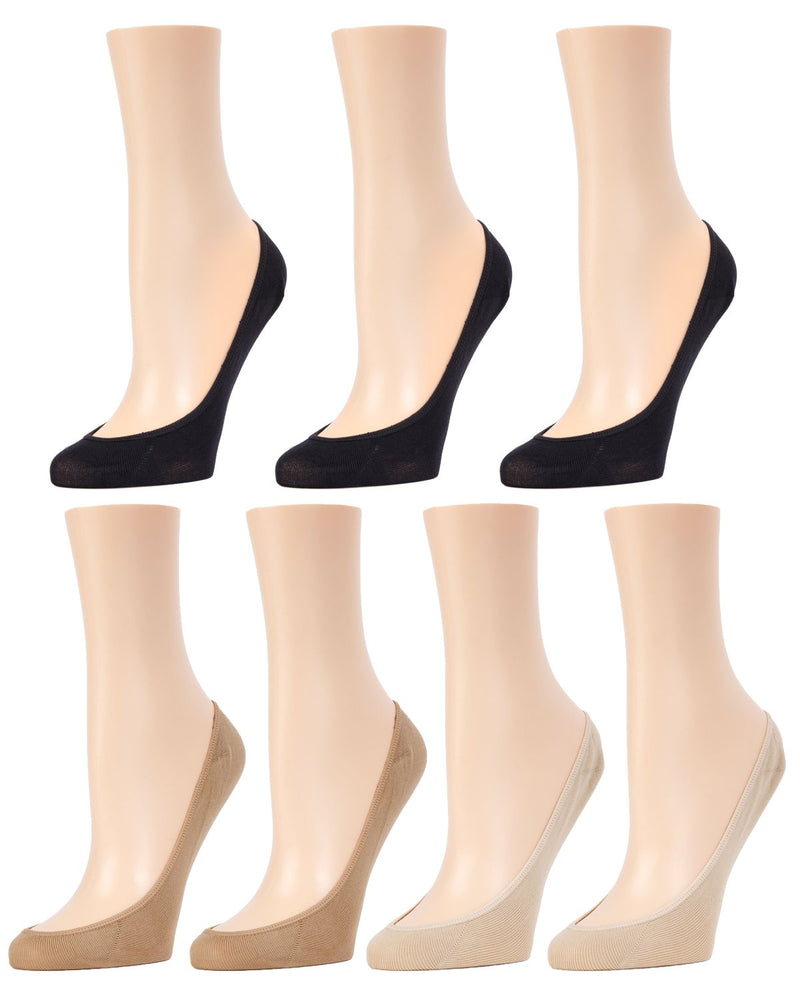 MeMoi Micro Shoe Liners 7-Pak | Women's no-show Shoe Liner Socks | 97% Nylon, 3% Spandex | Black/Tan/Nude MP-050