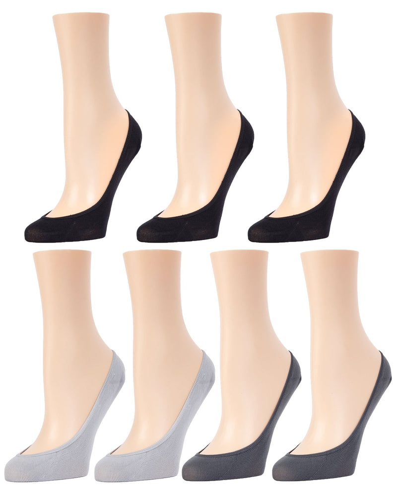 MeMoi Micro Shoe Liners 7-Pak | Women's no-show Shoe Liner Socks | 97% Nylon, 3% Spandex | Med Gray/Charcoal/Black MP-050