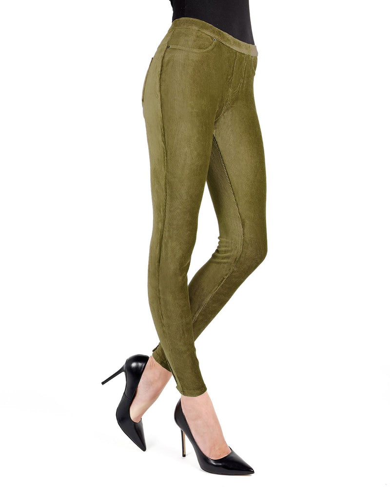 Memoi Military Olive Royal Plush Thin-Rib Corduroy Legging | Women's Premium Stretch Corduroy Leggings