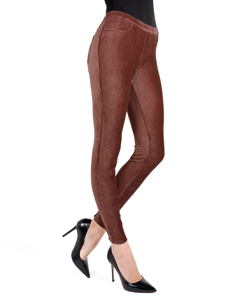 Memoi Rum Raisin Royal Plush Thin-Rib Corduroy Legging | Women's Premium Stretch Corduroy Leggings