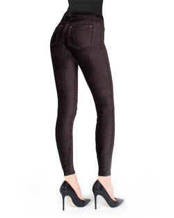 Memoi Black (2) Royal Plush Thin-Rib Corduroy Legging | Women's Premium Stretch Corduroy Leggings