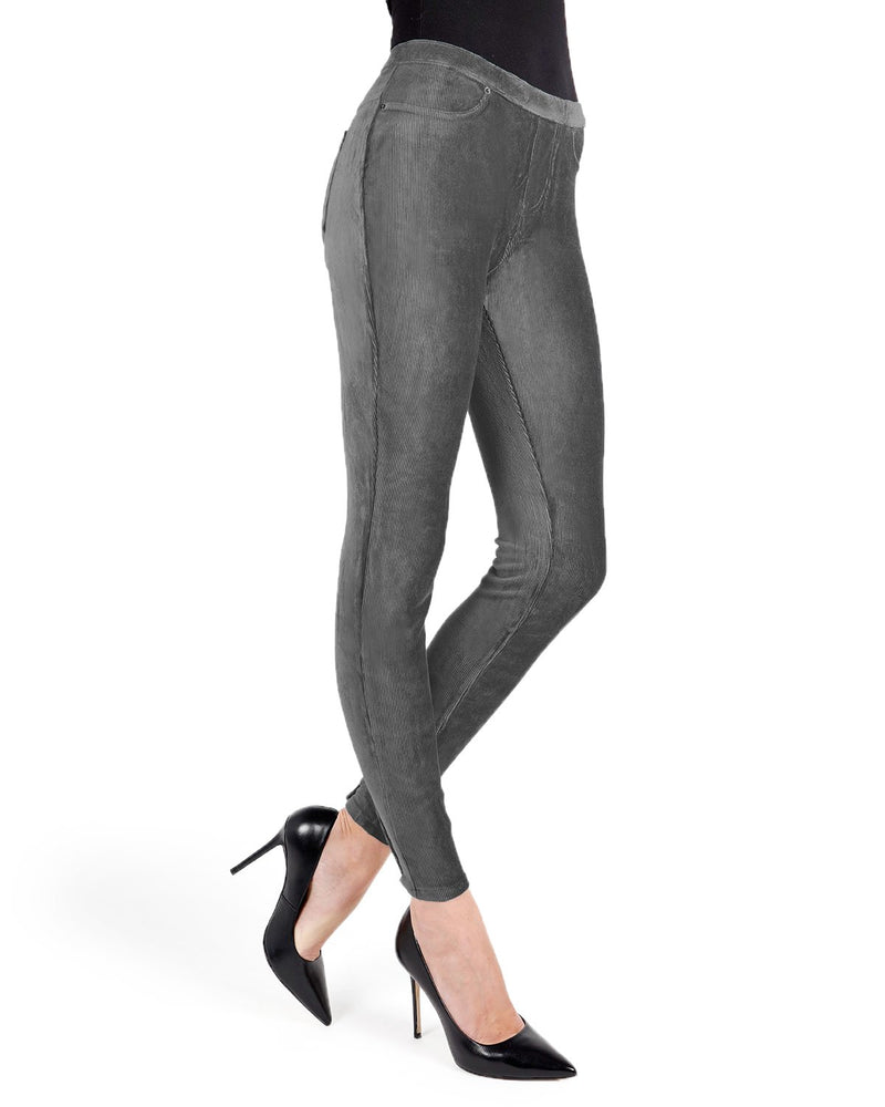 Memoi Gray Royal Plush Thin-Rib Corduroy Legging | Women's Premium Stretch Corduroy Leggings