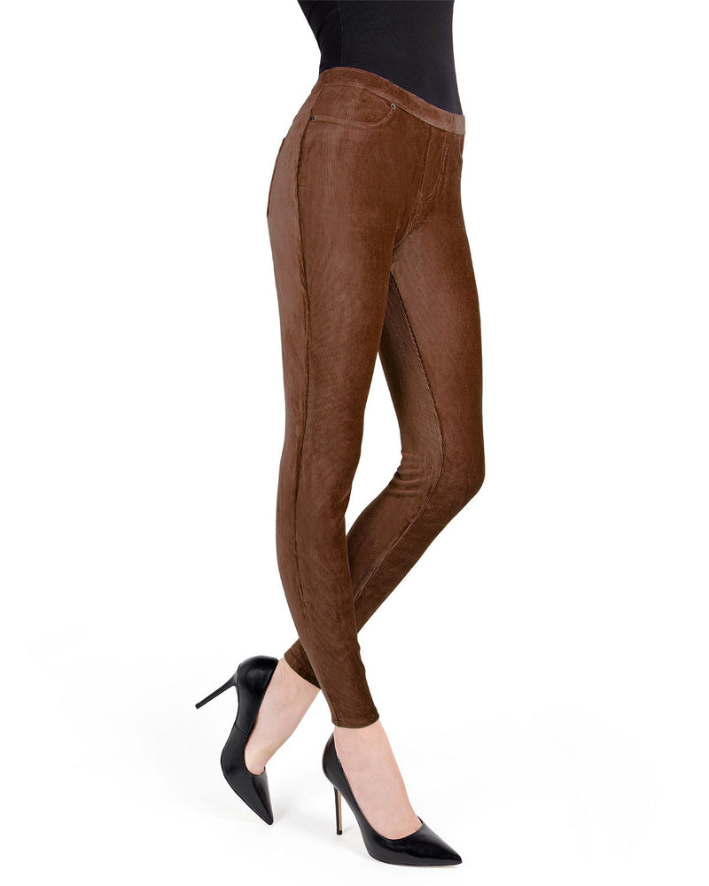 Memoi Java Royal Plush Thin-Rib Corduroy Legging | Women's Premium Stretch Corduroy Leggings