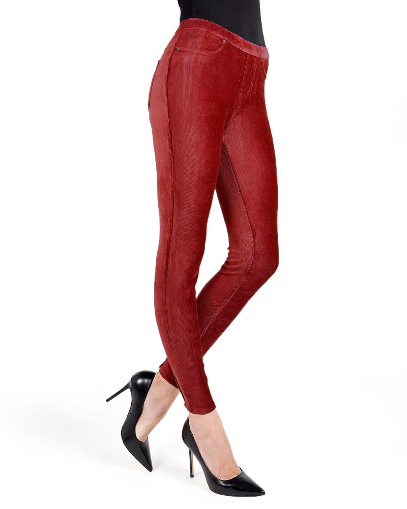 Memoi Biking Red Royal Plush Thin-Rib Corduroy Legging | Women's Hosiery - Premium Leggings