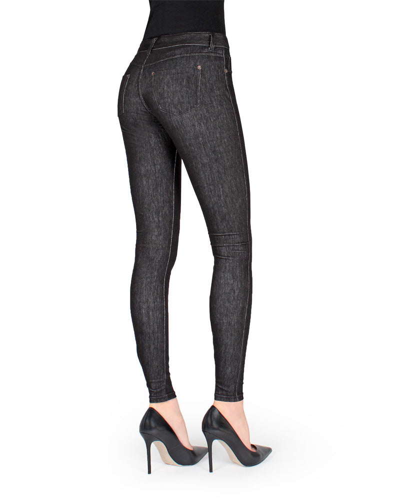 MeMoi Black Unbottled Denim Jean Leggings (rear view) | Women's Jeggings - Premium Jean Leggings